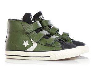 zapatillas altas verde militar niño converse